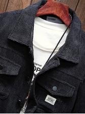 Retro Solid Pockets Men Bomber Jacket