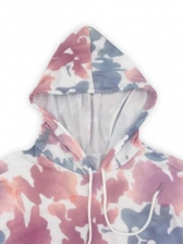 Contrast Color Printed Long Sleeve Hoodies For Women