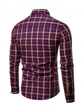 Leisure Button Down Plaid Long Sleeve Shirts
