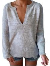 Solid V Neck Long Sleeve Shirts