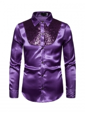 Leisure Sequins Solid Long Sleeve Shirts