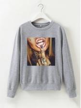Figure Printed Long Sleeve Casual Sweatshirts For Women