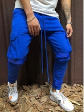 Sporty Drawstring Solid Pockets Pants