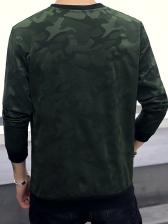 Crew Neck Camouflage Pattern Sweatshirt