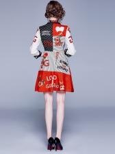 Contrast Color Letter Striped Shirt Dress