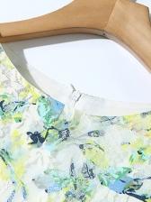 Crew Neck Gauze Floral Lace Dress For Women