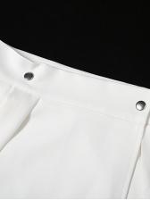 Easy Matching Metal Decor High Waist Pleated Skirt
