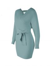V Neck Long Sleeve Tie-Wrap Knitted Dress