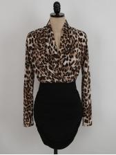 Stylish Leopard Patchwork Long Sleeve Bodycon Dress