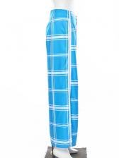 Chic Check Pattern Side Split Wide Leg Pants