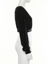 Trendy V Neck Letter Printed Black Crop T Shirt