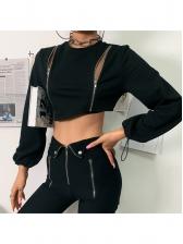 Double Zipper Drawstring Cuff Black Crop T Shirt