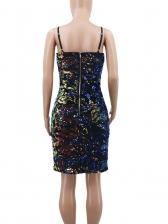 Sexy Split Hem Sequin Strap Dress For Women