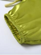 Turndown Neck Drawstring Bright Color Crop Top