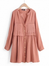 Solid Pocket Button Down Ladies Dress