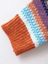 Vintage Contrast Color Knitting Long Winter Coat