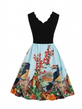 V Neck Exquisite Printing Fitted Sleeveless Dress