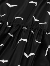 Smart Waist Halloween Printed Short Sleeve Dress