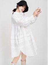 Stand Collar Solid Loose Long Sleeve Short Dress