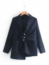 Irregular Faux Pearl Button Navy Blue Blazer
