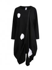 Crew Neck Zip Up Irregular Dots Long Coat