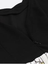 V Neck Large Hem Printed Sleeveless Dress