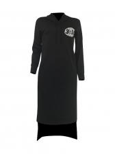 Casual Letter Irregular Hem Long Sleeve Hoodies Dress