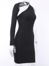 Sexy Cut Out Solid Long Sleeve Bodycon Dress