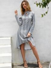 Hot Sale Loose Striped Long Sleeve Dress
