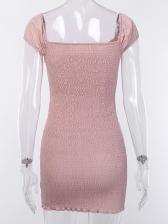 Solid Ruched Bandage Bowknot Short Sleeve Dress