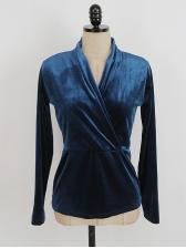 Solid Color V Neck Velvet Long Sleeve Top