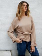 Smart Waist Solid Long Sleeve Blouse For Women