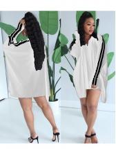 Side Line Patchwork Zipper Up Long Sleeve Dress