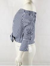 Off Shoulder Striped Long Sleeve Ladies Blouse