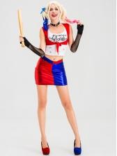 Stitching Color Two Piece Skirt Set Halloween Joker Costume