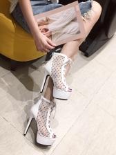 Lace Patchwork Bandage Dot Platform Boots