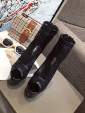 Gauze Hollow Out Buckle Strap Stiletto Boots Sale