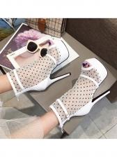 Fashion Gauze Dot Platform High Heel Boots