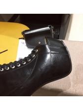 PU Wedge Bandage High Heel Black Ankle Boots