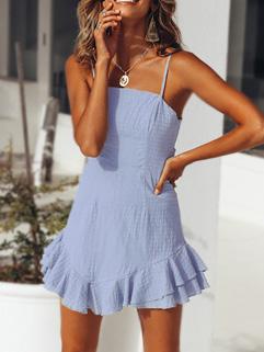 Summer Hot Sale Backless Ruffles Hem Sundress