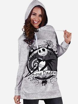 Fashion Skull Printing Long Greay Hoodie