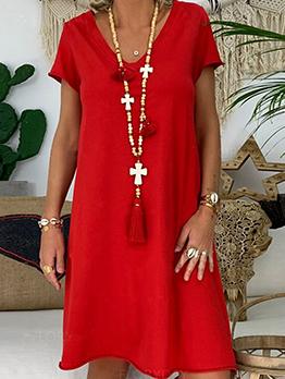 Hot Sale v Neck Short Sleeve Summer Dresses