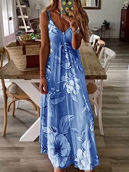 Bohemian v Neck Printed Sleeveless Maxi Dress
