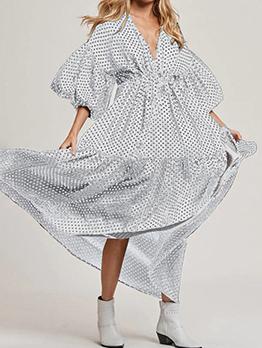 Bohemian Loose Polka Dots Short Sleeve Maxi Dress