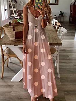 Bohemian Polka Dots Slip Maxi Dresses