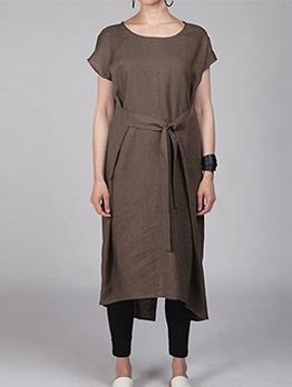 Minimalist Round Collar Tie Wrap Plus Size Midi Dress