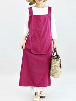 Square Neck Large Pocket Solid Suspender Dress