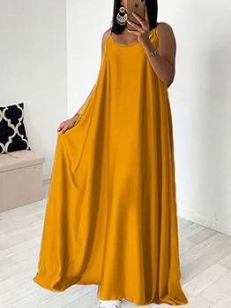 Solid Spaghetti Straps Maxi Dress