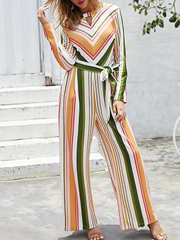 Multicolored Striped Tie-Wrap Wide Leg Jumpsuit