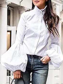Solid Stand Collar Lantern Sleeve Ladies Blouse